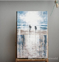 Wholesale hand oil painting beach resale online - Abstract Landscape Beach Pure Hand Painted Modern Wall Decor Abstract Art Oil Painting On High Quality Canvas Multi customized size a mei