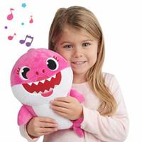 kinder weiche fische spielzeug großhandel-Baby Shark Plüsch Puppe Sound Gefüllte Sweetie Tiere Spielzeug Mit Musik Weiche Bendy Cartoon Fisch Spielzeug Plüsch Komfortables Geschenk Für Kind
