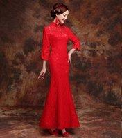 dantel şık cheongsam toptan satış-Kırmızı Sonbahar Dantel Uzun Cheongsam Çin Geleneksel tarzı Bayan Zarif Ince Qipao Parti Ince Elbise Vestidos Boyutu S-XXL