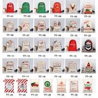 yılbaşı çantası toptan satış-2020 Noel Hediye Çanta Büyük Organik Ağır Kanvas Çanta Santa Çuval Ren Geyikleri Ile Noel Baba Çuval İpli Çanta çocuklar için