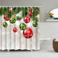 padrões de cortinas de chuveiro venda por atacado-Shower Curtain Snowman poliéster impermeável Tecido de Santa Padrão de Banho Poliban Cortina 2020 Natal Home Decor A110704