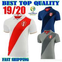manga de futbol nacional al por mayor-2019 Selección de fútbol del Perú Uniformes blanco camisetas de fútbol 19 20 Copa América de fútbol camisas de manga corta negro del fútbol a la venta