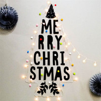 Wholesale christmas windows decorations resale online - Merry Christmas LED Lamp String Sets Festival Decoration Light String English Letter Combination Bar Window Decorative Paster sq L1