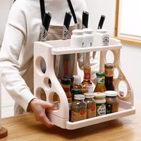 Wholesale condiments storage resale online - Kitchens Nordic Style Racks Holders Double Shelf Condiment Supplies Storage Rack Bathroom Storage Seasoning Tool Sort Out Holder