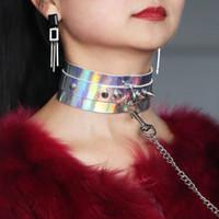 bdsm halsbänder großhandel-BDSM Gürtel mit Laserkragen Holographic Leder Choker Kette Halskette Leine Punk Set Special Sex Pleasure Erwachsene Erotik Kragen