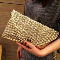 carteira de glitter preto venda por atacado-Mulheres Glitter Sequins Handbag Sparkling Festa Ladies Evening Envelope Clutch Bag Carteira Tote Bolsa preta Prata
