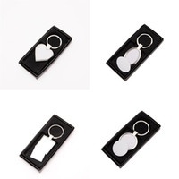 Wholesale customized key chain for sale - Group buy Metal Key Chain Geometry Blank Customize Pattern Keys Ring Keybuckle Portable Creative Personality Wear Resistant xm UU