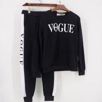 vogue sweatshirt toptan satış-Sonbahar Kış 2 Parça Set Kadın VOGUE Mektuplar Baskılı Kazak + Pantolon Takım Eşofman Uzun Kollu Spor Kıyafet