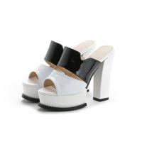 Wholesale flat platform animal resale online - women s fashion slipped patent leather elegant high heels comfortable block heels platform sexy women s summer shoes
