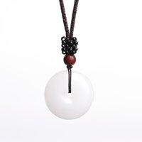 colar de amuleto de jade venda por atacado-XinJiang Branco Jade Segurança Pingente de Colar de Pingente de Colar de Jade Pedra Sorte Amuleto Colar Com Cadeia Para Homens mulheres