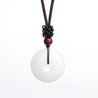 jade amulett halskette großhandel-XinJiang Weiß Jade Sicherheitsknopf Anhänger Halskette Drop Shipping Jade Stein Glück Amulett Halskette Mit Kette Für Männer Frauen