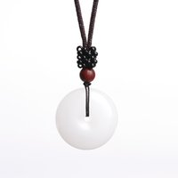 ingrosso collana di amuleto della giada-XinJiang White Jade Safety Button Pendant Necklace Drop shipping Jade Stone Collana Amuleto Fortunato con catena per uomo donna