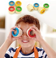 juguete de madera de abeja al por mayor-Niños Mágico efecto de ojo de abeja Caleidoscopio Juguete de madera Observación de múltiples prismas Mundo colorido Juguetes de madera