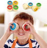 ahşap arı göz oyuncağı toptan satış-Çocuklar Büyülü Arı Göz Etkisi Kaleidoscope Ahşap Oyuncak Çok Prizma Gözlem Renkli Dünya Ahşap Oyuncaklar