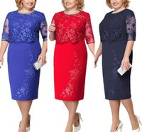 Wholesale winter wedding dresses mother bride for sale - Group buy Lace Plus Size Mother Of The Bride Dresses Scoop Neck Hal Sleeve Patchwork Wedding Guest Party Gown FS6340