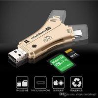 ipad promoções venda por atacado-PROMOÇÃO 4 em 1 i-flashdevice hd usb micro sdtf card reader adapter para iphone 5 6 7 8 para ipad macbook android câmera black white gold