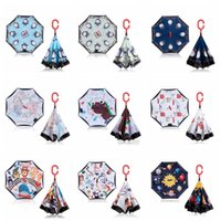 çocuklar karikatür şemsiye toptan satış-Moda Çocuk Ters Şemsiye Yaratıcı Çift Katmanlı Süper Windbreak Şemsiye Açık Çocuklar Karikatür Hayvan Şemsiye TTA811
