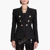 HIGH STREET Newest Runway 2019 Designer Blazer Women's Lion Metal Buttons Cotton Blend Tweed Blazer Coat