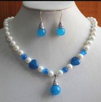 ingrosso orecchini blu della collana della perla-gioielli bianco / blu perla / giada collana gancio orecchino gioielli ciondolo