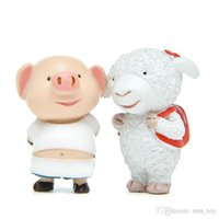 Wholesale western kids for sale - Group buy Cute Pig Brother Sheep Sister Resin Action Figure Collectible DIY Garden Decoration Cute Doll Kids Birthday Gift