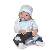 ingrosso bambola reale piena-Bebe Reborn NUOVO design rinato bambole in vinile pieno con bambole per capelli in fibra di genere con tocco reale morbido a mano per regalo per bambini