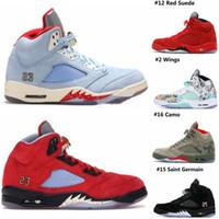 mavi süet toptan satış-2019 Erkek 5 Basketbol Ayakkabıları Yeni Trophy Odası x 5 s Buz Mavi JSP Kırmızı Camo Seme Siyah Olimpiyat Altın Mavi Süet Tasarımcısı Sneakers