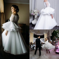Wholesale high low dress off shoulder sleeves resale online - 2020 Chic White Prom Dresses Off Shoulder Puffy Ruffles Long Sleeve Chiffon Pleats High Low Short Evening Gowns Lace Applique Occasion Dress
