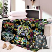 Wholesale dog blanket blue resale online - Dropship Skull Dog Throw Blanket Mandala Boho Bohemian Sherpa Fleece Blanket Pink and Blue for Beds