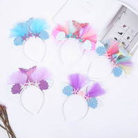 Wholesale mesh flower band resale online - New style baby girl mermaid tail hairband mesh starfish flower gauze headwear fashion kids hair band