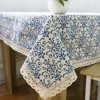 manteles de boda amarillo al por mayor-Cena de café lavable mantel de algodón retro de lino Mantelería de porcelana azul y blanca para banquete de bodas de Navidad