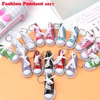 Wholesale sport shoe key chains resale online - Mini Canvas Shoes Sneaker Tennis Keychain Creative Key Ring Chain Simulation Sport Shoes Funny Keyring Pendant Gift