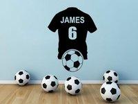 futbol çıkartmaları toptan satış-PERSONALIZED Futbol Gömlek Duvar Sanatı Sticker Vinil Çıkartması Futbol Boys Yatak Odası Duvar Dekorasyon Duvar Çıkartmaları Özel Ad Numara
