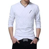 özel gömlekler toptan satış-2019 Yeni Erkekler T-shirt Slim Fit Özel T-shirt Kırışık Tasarım Uzun Şık Lüks V Boyun Spor T-shirt Tee Gömlek Homme Artı Boyutu