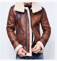 4xl erkek deri kış ceketi toptan satış-Yeni Sıcak Kış Lambswool Sıcak Uçuş ceket Erkek Deri Ceket Polar Kalın Artı boyutu Giyim Coats Uzun kollu outwears Giyim