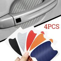 karbon elyaf tabakaları toptan satış-4pcs / Set Araba Oto Kapı sticker Film Sac Sap Çizilmeye Sticker Koruyucu Kapak 3d karbon fiber Film Dış Araba Etiketler GGA981
