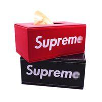 держатели автомобильных салфеток оптовых-Клон красный Фирменная коробка для салфеток и салфетки Письмо Бумажная коробка для полотенец Перевозка для дома и офиса Отель Автомобиль Лицевая коробка для ткани