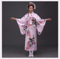 черный косплей кимоно оптовых-Sexy Black Japanese Women Evening Dress Silk Rayon Kimono Yukata With Obi Dance Dress Cosplay Costume Flower One Size