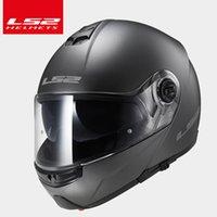 ls2 kask lens toptan satış-Orijinal LS2 FF325 STROBE'U Motosiklet Kaskı çift mercek siperliği Capacete Cascos Moto Casques Flip Up