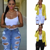 Wholesale summer ripped jean shorts resale online - Women Ripped Holes Knee Length Jeans Sexy Summer Denim Hole short Pants Skinny High Wasit Blue White Casual Pencil Pants LJJA2402
