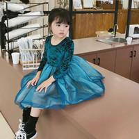 samt einzelhandel großhandel-Art und Weise Mädchenkleider Tutu Samt Kinder kleiden Kinder Designerkleidung Mädchenprinzessinkleid Baby neues 2019 Herbst Winter Einzelhandel A7975 Kleid