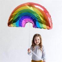 tamanhos de balão de alumínio venda por atacado-Rainbow Helium Balloon Decoração Inflável Airballoon Grande Tamanho 93x59 cm Folha De Alumínio Boa Vedação Quente de Vendas