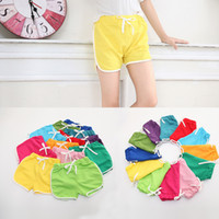Wholesale kids girls sports wear for sale - Group buy Summer Candy Color kid pant Boys and Girls Children s Wear Hot Pants Baby sports Casual boys beach pants children designer clothing M129