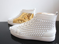 ingrosso rosso dres oro-Sneakers basse famose di marca rossa all'ingrosso Spikes in oro con punte in pelle nere piatte da uomo Casual Walking Flat - Wedding Party Dres
