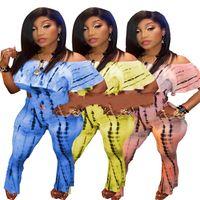 ingrosso set di cravatta blu-One Shoulder Short Top Wide Leg Pants Suit Women Motion Abbigliamento casual Due pezzi Set Night Club Sexy Fashion Tie tintura blu 38cs C1