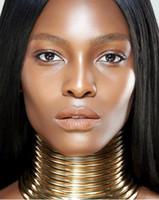 afrikanischer goldkragenchoker großhandel-Vintage Statement Choker Halskette Frauen Gold Farbe Leder Kragen Maxi Halskette afrikanischen Schmuck einstellbare Halsreifen groß