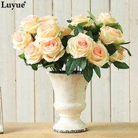 lila weiße getrocknete blumen groihandel-Günstige Artificial Getrocknete Qualitäts-Blumen-9-Kopf-Rosen-Rosen-Hochzeit künstliche Dekoration Bouquet Champagne weiß lila