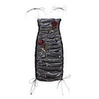 çok seksi elbiseler toptan satış-Le palais vintage Dazzle Elbise See Through Çok Seksi Pileli İnce Yüksek Rise Gül Dekor Spagetti Sapanlar Kalem Elbise 2019 Bahar