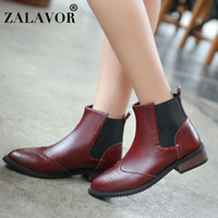 Wholesale british style pointed toe boots for sale - Group buy ZALAVOR British Style Women Ankle Boots Elastic Band Pointed Toe Flats Shoes Autumn Winter Leisure Women Footwear Size