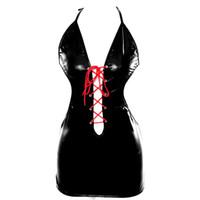 arnés ropa de moda al por mayor-Sujetador de arnés de cuerpo completo de cuero Steampunk Gothic Moda de mujer Falda con cuello en V Tiras de tiras de la ropa interior ajustable Ropa de clubes nocturnos