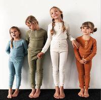 baby mädchen geschenk geschenk-sets groihandel-Kinder-Pyjamas Baby-Kleidung Winter Pyjamas Kleidung Set-Knopf-Mädchen-Prinzessin Long Sleeve Hosen Sleepwear-Klage-gesetzte Kind-Pyjamas Weihnachtsgeschenke